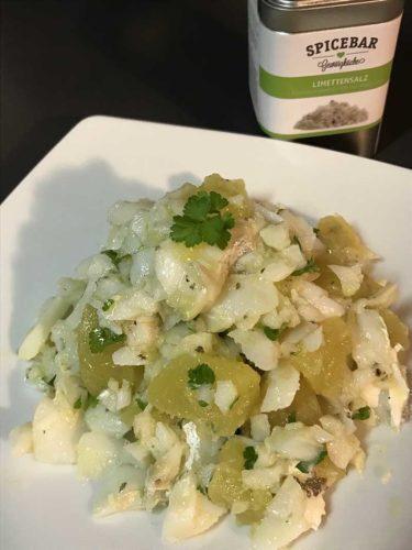 Baccalà con patate al verde e sale al lime