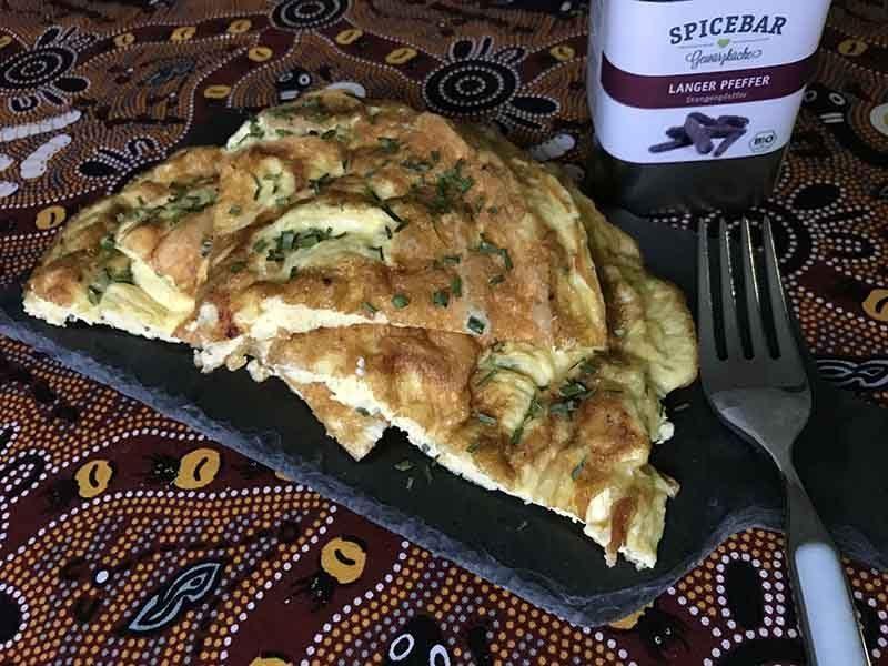 Frittata di formaggi cipolla egiziana ligure e pepe lungo Spicebar