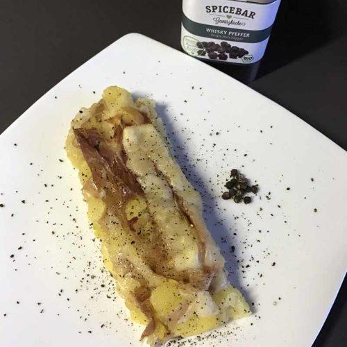 Tortino di patate e prosciutto con pepe al whisky di Spicebar