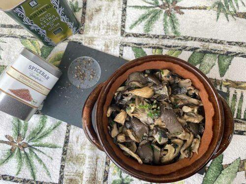 Funghi Pleurotus in coccio